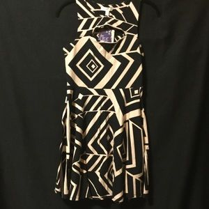 Black&Tan Geometric Mini Skater Dress